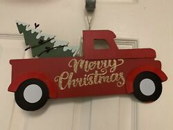 Merry Christmas Red Truck With Tree in Bed Wall Hanging Christmas Decor $9.00