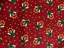 Angels and Stars on Red Fabric Holiday Christmas Quilt Craft BTHY $3.75