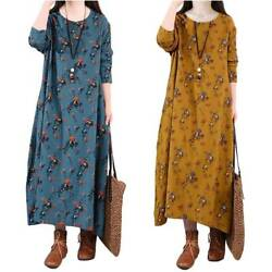 Women Autumn Long Sleeve Long Dress Ladies Casual Floral Baggy Holiday Dresses $19.56