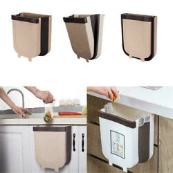 Folding Waste Bin Kitchen Bin Rubbish Door Hanging Trash Garbage Container $21.99