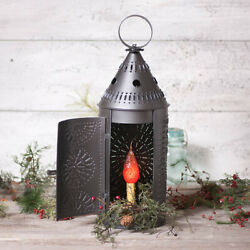 21quot; Electric Punched Tin Lantern Light Lamp in Smokey Black Country Light NEW $64.00