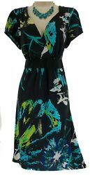 14 16 1X SEXY Womens ABSTRACT WATERCOLOR FLORAL DRESS Spring Summer PLUS SIZE $24.99