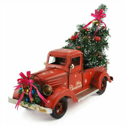 Christmas Vintage Metal Classic Pickup Red Truck w Tree Farm House Rustic Decor $55.99