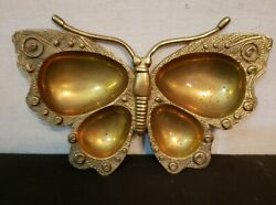 Vintage Brass Ornate Butterfly Trinket Dish $14.00