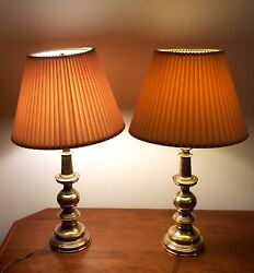 Vintage Stiffel Heavy Brass Table Lamp amp; Shade 30quot; Tall $175.00