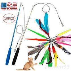 Pet Cat Toys Feather Wand Rod Balls Pet Kitty Play Funny Teaser Interactive Toy $11.99
