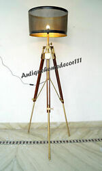 Vintage Floor Shade Lamp With Tripod Stand Home Decor Nautical Lighting Style C $219.00