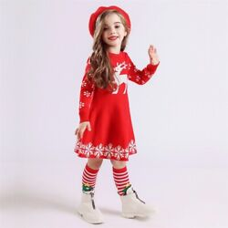Baby Girl Red Princess Dress Kids Knit Warm Party Girls Clothes $10.99
