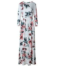 LiMiCao Women#x27;s Stretchy Floral Long Maxi Dresses with Pockets in Large Size $17.99