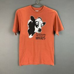 Vintage Anvil Hamburgers Are Made Of What Tee T Shirt Orange Novelty Size Small $23.99