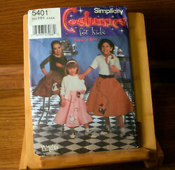 Simplicity Costume 5401 Child amp; Girl Poodle Skirts Size 3 4 5 6 Sewing Pattern $7.50
