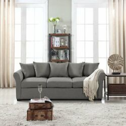 Modern Living Room Family Room Sofa Classic Fabric Couch Light Grey $349.99