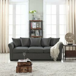 Classic Modern Furniture Living Room Sofa 3 Seater Couch Dark Grey $349.99