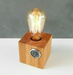Wooden Desk Clock Lamp Mini Edison Bulb Table Lamp Rustic Bedside Small Lamp $67.00