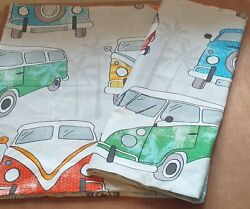 Pair Cotton Novelty Blue Red Green Campervan Camper Van Bed Pillow Cases Covers GBP 8.99