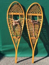 VERY NICE Vintage SNOWSHOES 42x12 LEATHER BINDINGS Snow Shoes L@@K $98.49