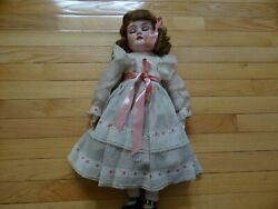 Antique Germany Sleeping Eyes Joint Body Bisque Doll In Original Dress 215quot; $160.00