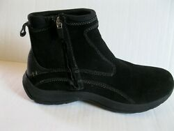 Lands End Womens Boots Suede Leather Side Zip Ankle Black Size 9.5 B $23.99