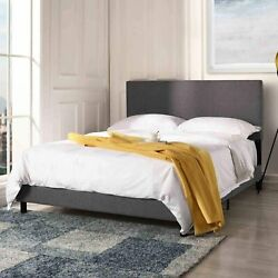 Modern Bed Frame Upholstered Headboard Platform Full Size Bed in Dark Grey $119.99