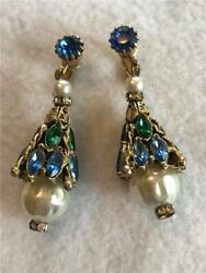 Vintage Chandelier Earrings Gold Tone Blue Green Rhinestones Faux Pearls $24.50