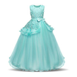 Flower Girl Princess Dresses Wedding Gown Christmas Party Long Tulle Kids Dress $18.99