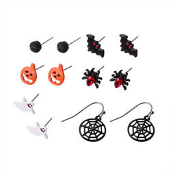 6 Pairs Christmas Halloween Stud Earring Set Women Girl Bat Pumpkin Lamp Spider $1.75