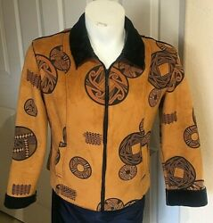 Robert Kitchen Canada Faux Suede amp; fur Women#x27;s Jacket Large W Native symbols $55.00