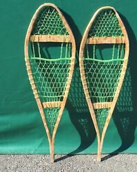 Vintage SNOWSHOES 36x11 Snow Shoes BINDINGS NICE DECOR $37.49