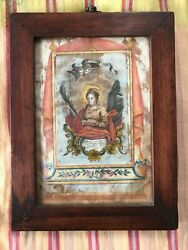 Antique Wooden Framed Virgin Mary Print w Gold Paint Portugal plus 5 Miniatures $50.00