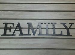 FAMILY Metal Wall Art Word Quote Metal Sign Decor Steel RUSTIC living room decor $24.95