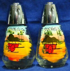 Vintage glass salt and pepper shakers Costa Rica Pre owned 4 inches tall $7.95