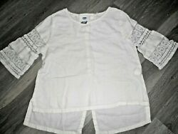 Old Navy Girls WHITE 3 4 CROCHET Sleeve Blouse TOP Size 6 7 SMALL $7.99