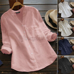 US STOCK Women Long Sleeve Button Down Shirt Tops V Neck Solid Casual Blouse Tee $14.71
