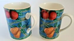 Victoria Beale Forbidden Fruit Set of TWO Mugs 4 3 8quot; All Over Fruit $16.99