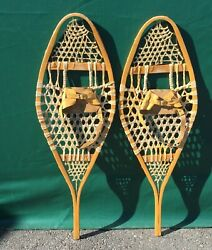 VERY NICE Vintage SNOWSHOES 42x14 LEATHER BINDINGS Snow Shoes L@@K $94.49
