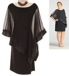 22W 3X SEXY Women BLACK CAPELET DRESS Evening Wedding Holiday Cocktail PLUS SIZE $99.99