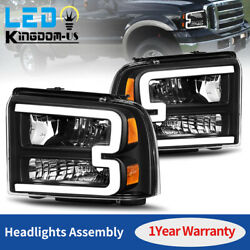 Black For 2005 2006 2007 Ford F250 F350 F450 Superduty LED Tube DRL Headlights