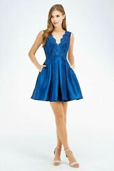 Ladies EMBROIDERED TOP HOMECOMING Taffeta Prom Formal Short DRESS S M L 26473 $48.99