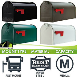 Post Mount Mailbox Medium Heavy Duty Galvanized Steel Storage Gold Lettering Box $23.76