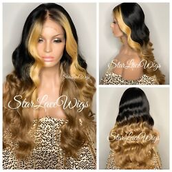 Long Lace Front Wig Two Tone Body Wave Black Brown Blonde Free Part Baby Hair $80.61