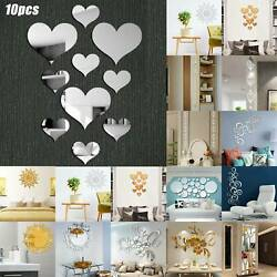 3D Mirror Wall Stickers Removable Art Mural Decal Dining Room Home Decorations $7.02
