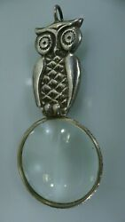 Magnifying Glass Pendant Table Desk Top Handmade Owl on Both Sides Silver 800 $93.00
