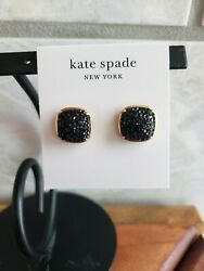 NWT kate spade Clay Pave Small Square Stud Earrings Jet Black $44 $29.99