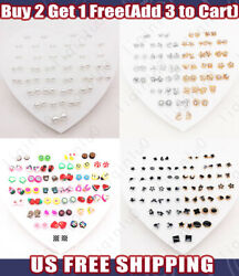 36 Pairs Set Fashion Rhinestone Earrings Women Ear Stud Jewelry Plastic Flower $6.29
