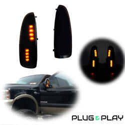 Black Smoke Amber LED Towing Side Mirror Signal Light for 99 07 Ford Super Duty $29.99