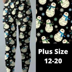 Caroling Music Snowman Christmas Holiday Women#x27;s Leggings TC Plus Size 12 20 $22.00