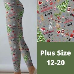 Mickey Minnie Mouse Ears Christmas Holiday Women#x27;s Leggings TC Plus Size 12 20 $22.00