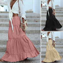 Women Cotton Elastic Waist Pleated Skirt Solid Casual Loose Long Maxi Skirt Plus $16.55