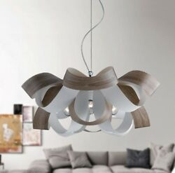 Hanging Modern Chandelier Effect Wood Chrome Circles Colours $400.36