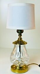 Vintage Small 13quot; Crystal amp; Brass Table Lamp With White Shade $75.00